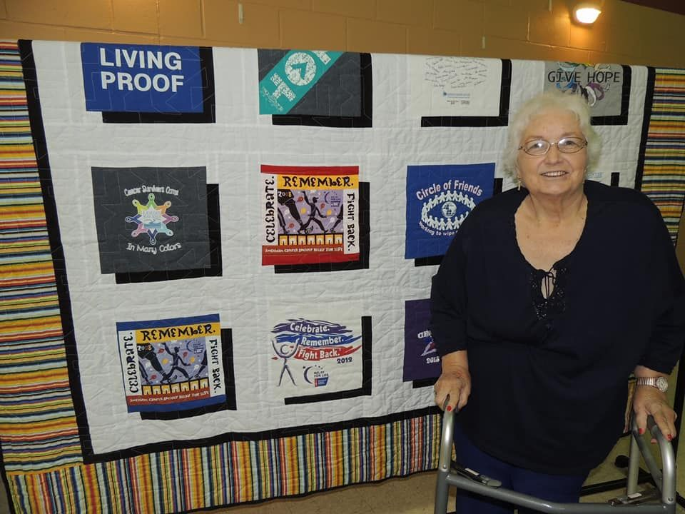 Mary Bloemker was the winner of the quilt that was raffled. She was pleasantly surprised as she is a cancer survivor.