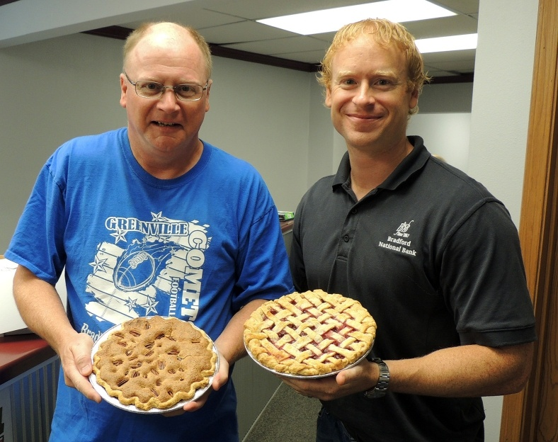 WGEL Pie Auction 2016, Randy Alderman and Jace Keaster from Bradford National Bank